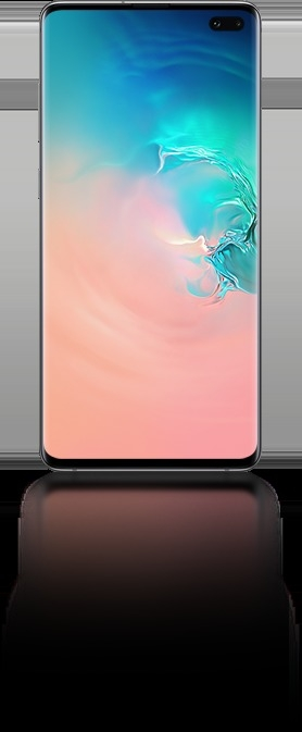 Galaxy S10 plus seen from the front with an abstract coral and blue gradient graphic onscreen.