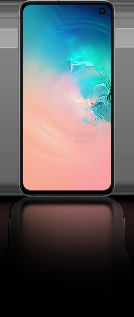 Galaxy S10e seen from the front with an abstract coral and blue gradient graphic onscreen.