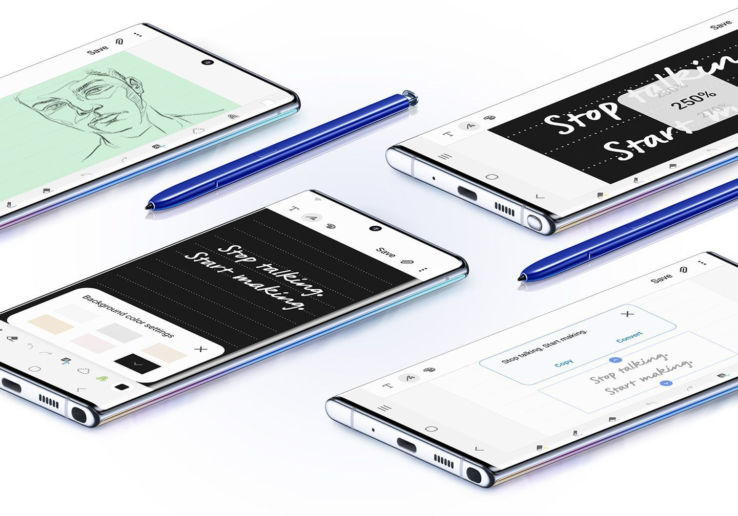 Four Galaxy Note10 plus phones seen laying face up with a variety of Samsung Notes uses onscreen, and two blue S Pens. One screen shows a sketch of a face, another shows Text Export, the next shows a note with the zoom GUI overlaid on top, and the last phone shows writing with the background color settings menu