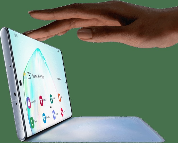 Galaxy Note10 plus seen in landscape mode with a shadow and a hand touching the top as if it's a laptop