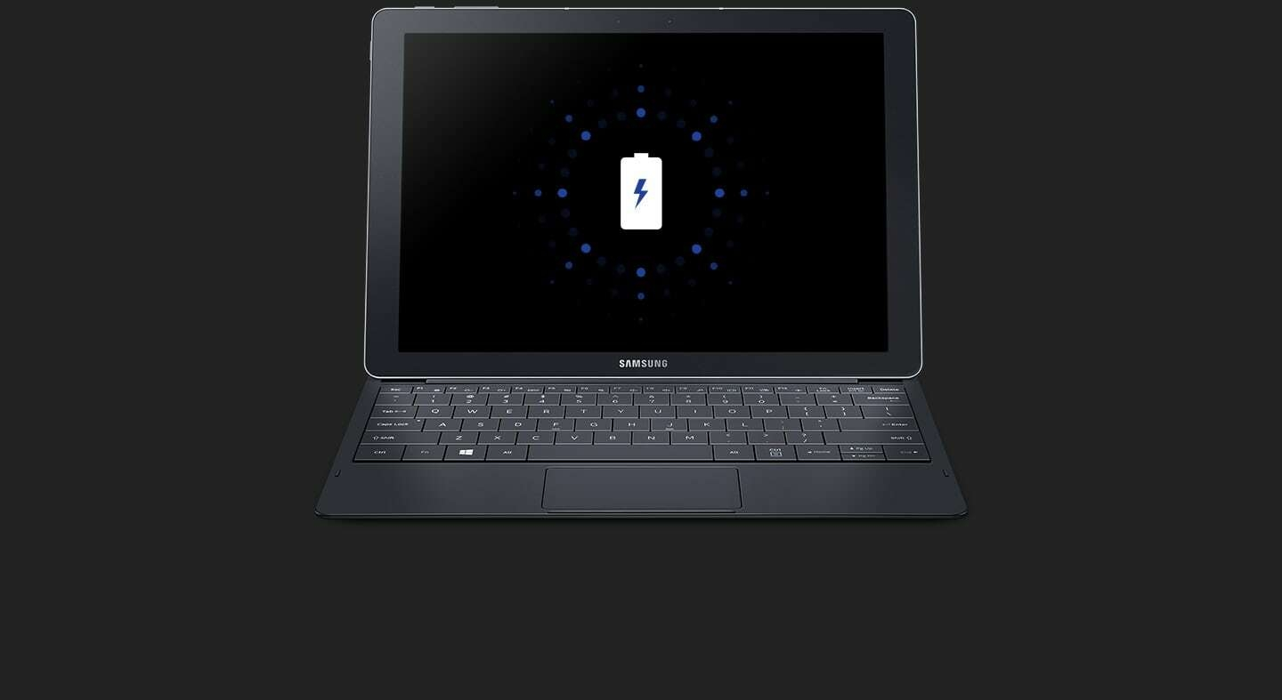 Battery icon is on the display of Galaxy TabPro S which has keyboard attached