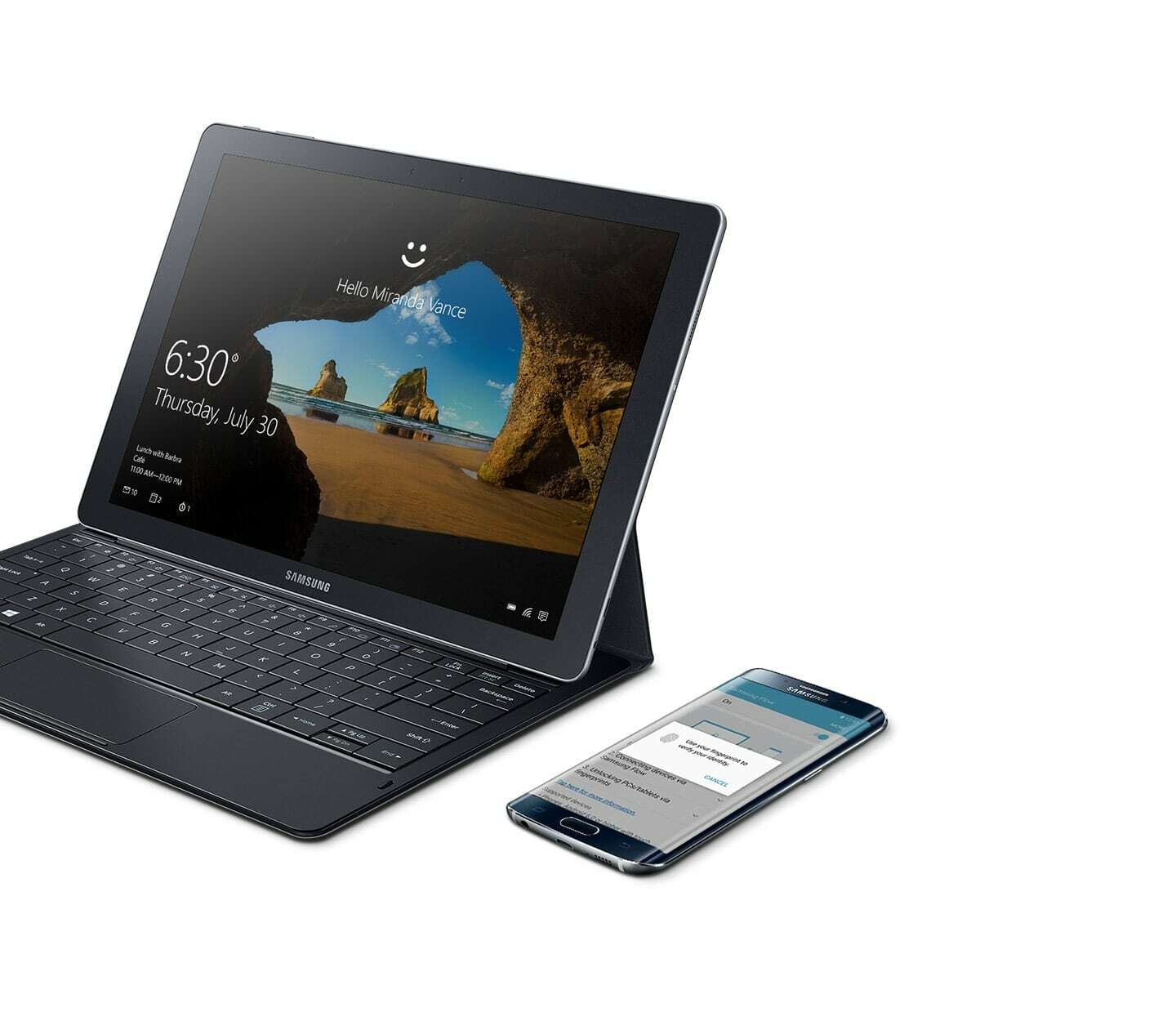 Galaxy TabPro S is next to Galaxy S7 edge where Samsung Flow app is on the screen.