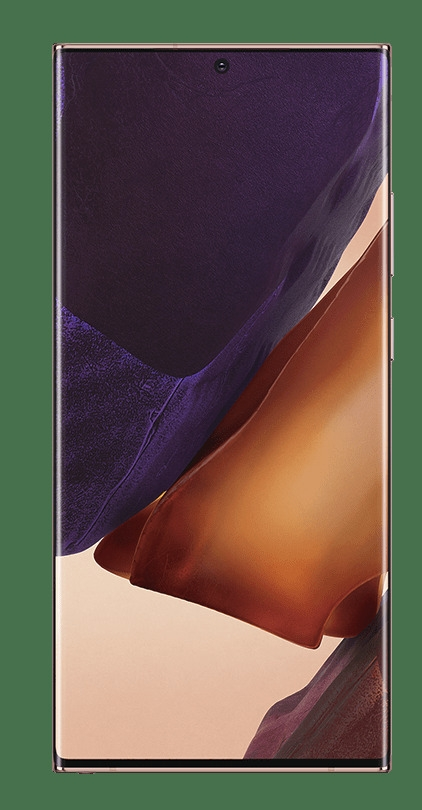 Galaxy Note20 Ultra 5G in Mystic Bronze, seen from the front with a graphic wallpaper onscreen.