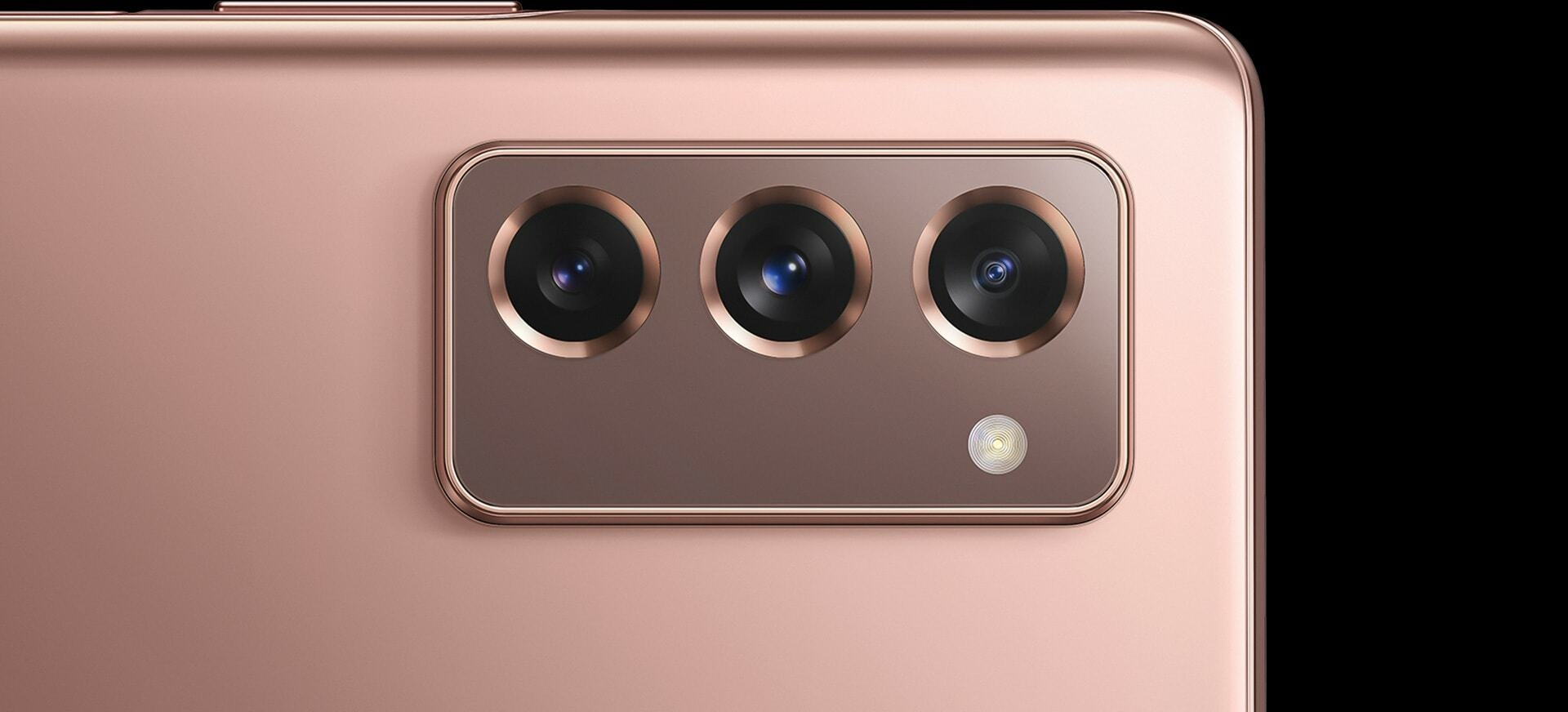 The rear triple camera on Galaxy Z Fold2 in Mystic Bronze.