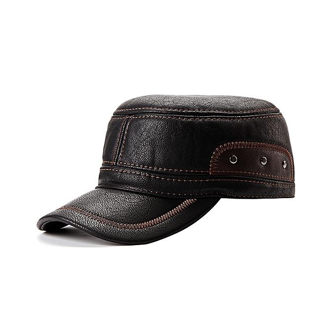 b0ba15859d4d6 Unisex PU Leather Earflap Ear Muffs Baseball Cap Adjustable Plush Lining  Golf Windproof Outdoor Hat