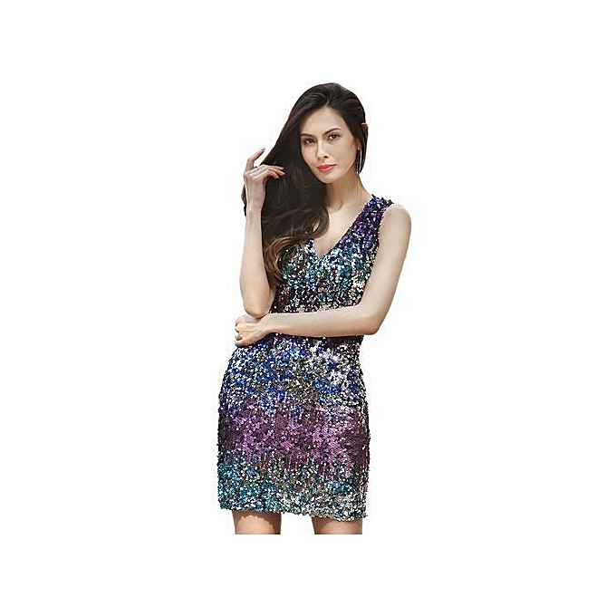 de1fdbdf06ef Summer New Sexy Deep V-Neck Halter Backless Solid Sequins Mini Dresses  Fashion Party Club