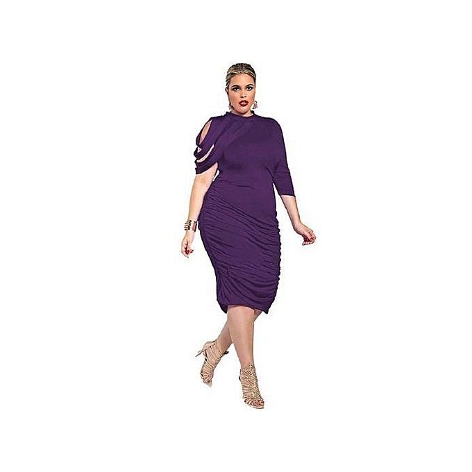 Women Plus Size midi bodycon Dress turleneck one Three Quarter Sleeves High  Waist wrap Party Dress-purple