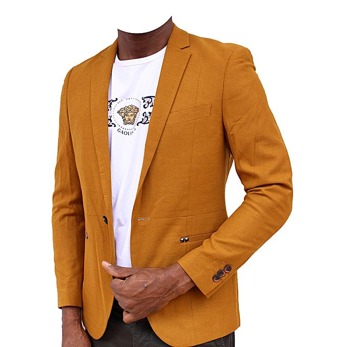 - Long Sleeve Blazer - Mastered Yellow