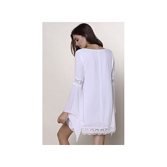 Buy Fashion Jewel Neck Long Sleeve Crochet Dresswhite Online