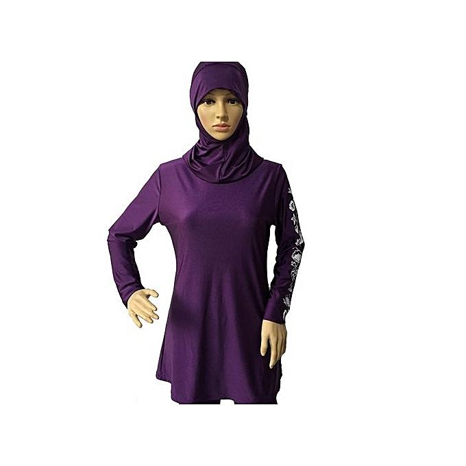 22a3099b76c86 Women Printed Floral Hijab Muslim Swimwear Beach Bathing Suit Muslimah  Islamic Swimsuit Swim Surf Wear Sport