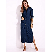 da91dd6eb4 Denim Maxi Dress - Navy Blue.