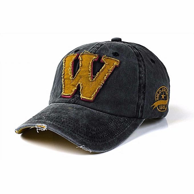 b8bfcf1ff5 Unisex Letter W Embroidery Denim Washed Baseball Cap Vintage Adjustable  Snapback Hat