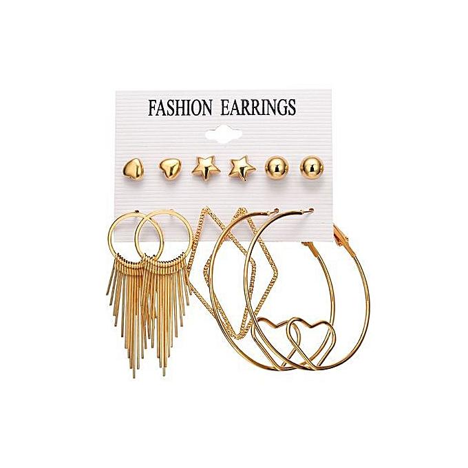 862f33d5a Stylish Punk Tassel Love Round Infinite Symbol Stud Earrings 6pairs/Set