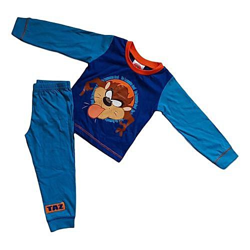 b1574695d Generic Boys Taz Looney Tunes Long Pajama Set - Blue