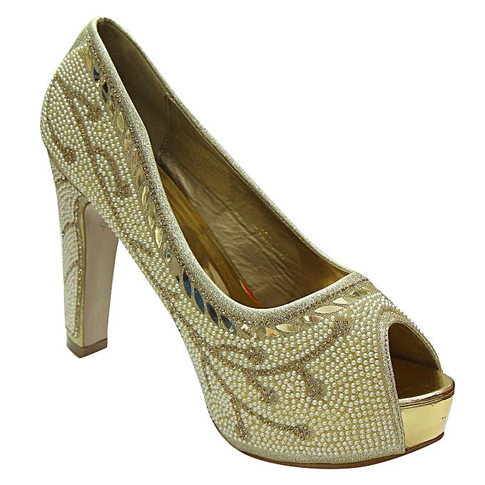 a3d9884d9fb50 Women's Faux Leather Bridal Shoes, 4 Inch - Gold