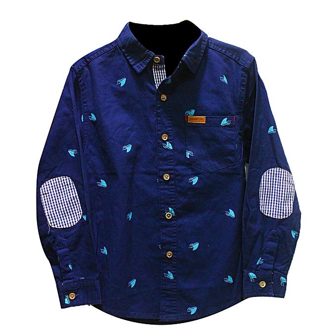 c893a13a0 Buy Generic Boy's Cotton Casual Shirt - Navy Blue online   Jumia Uganda