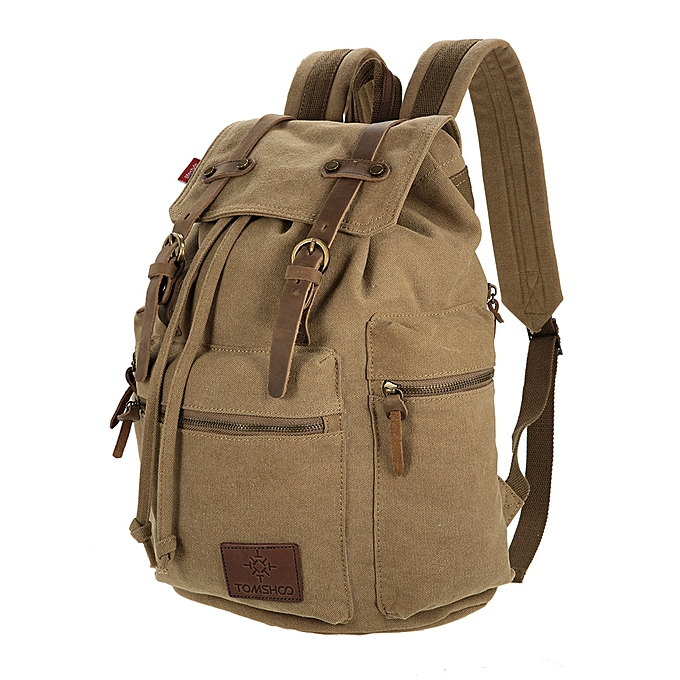 392925f73 TOMSHOO Multifunction Canvas Backpack Vintage Shoulder Bag Travel Bag  Outdoor Leisure Rucksack Men's Laptop Backpack