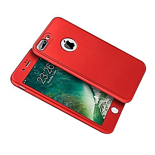 competitive price a27a0 90ae0 360 Degree Full Body Coverage], Front and Back Silicone Rubber Case +  Tempered Glass Screen Protector for iPhone 7 Plus/8 Plus - Red