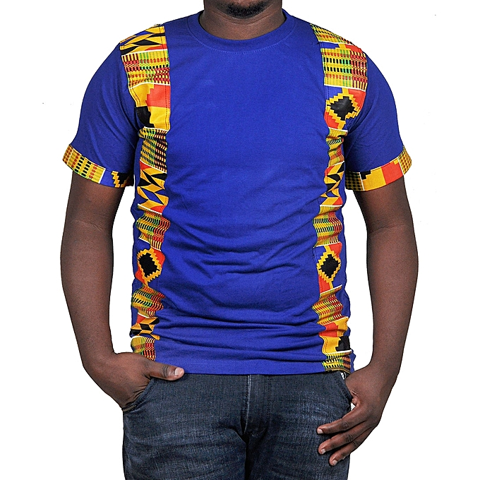 1f08f9fcbf5 designer Ankara Kente Kitengi African Print Men s T-Shirt - Royal ...