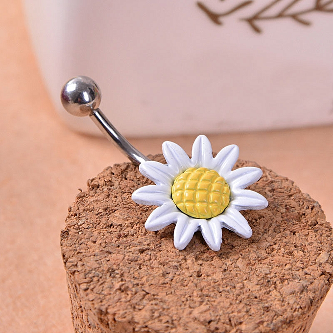 Hiamok Sunflower Flower Surgical Steel Belly Button Ring Navel Piercing Body Wh