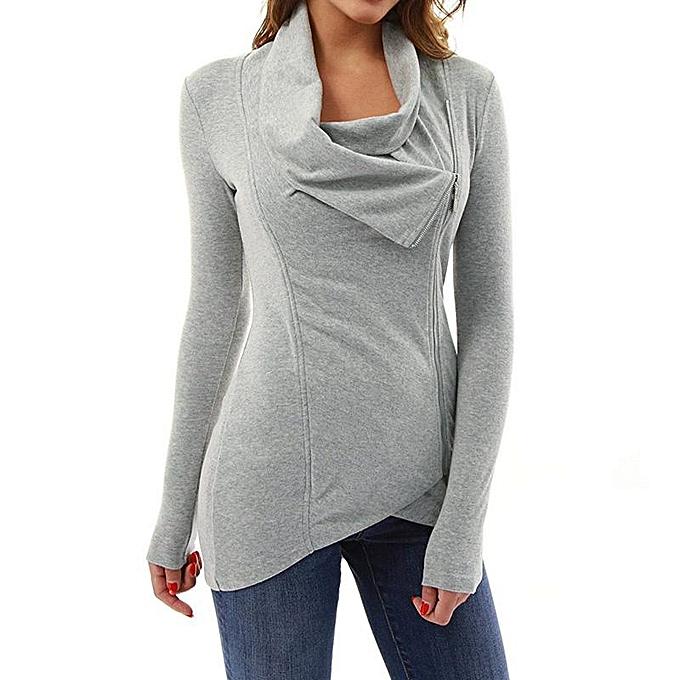 9cf3d0558c6 ZANZEA Solid Tops Zipper Long T-Shirt Asymmetric Collar Women Long Sleeve  Blouse Grey