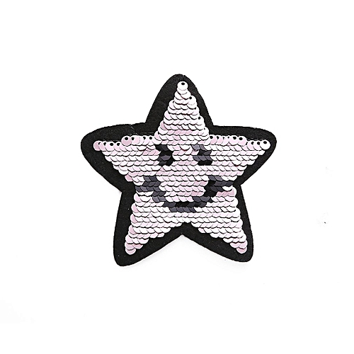 cdc5edbe02b1 Applique Clothes Patch Stickers Reversible Sewing Smile Flip Sequin Cloth  pink