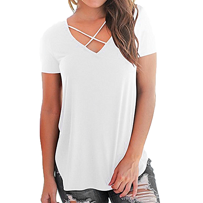 a9913fbd Hiamok Women's Casual Short Sleeved Solid Criss Cross Front V-Neck T-Shirt  Tops