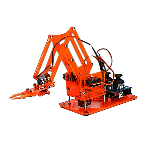 DIY Colorful Mechanical Robot Arm Kit with Infrared Controller Metal Servo  for Arduino-Clear