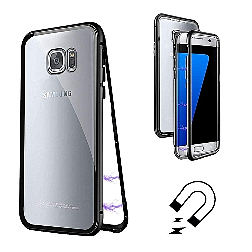 promo code 06577 67ab3 MFEEL Ultra Slim Magnetic Adsorption Metal Frame Phone Case Tempered Glass  Back (NO Tempered Glass in Front) For Samsung Galaxy S7 Edge Plus Case