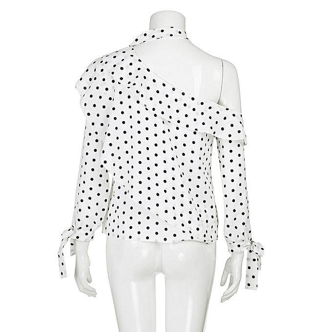 7a8858668a6 ... Hiamok Women One Shoulder Polka Dot Blouse Tops Lantern Sleeve Chiffon  Bow Shirt ...