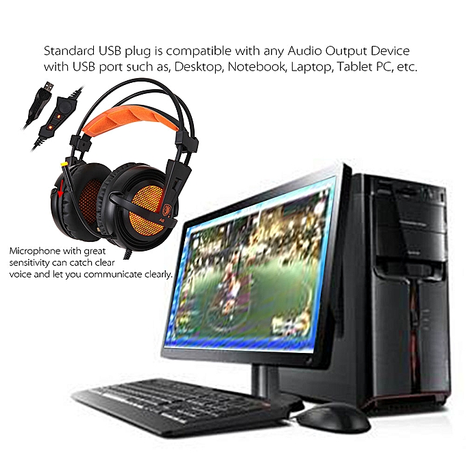 SADES A6 Gaming Headphone with Mic USB Professional Over Ear Stereo Gaming  Headset with LED Noise Cancellation & Wonderful Sound Effect Music