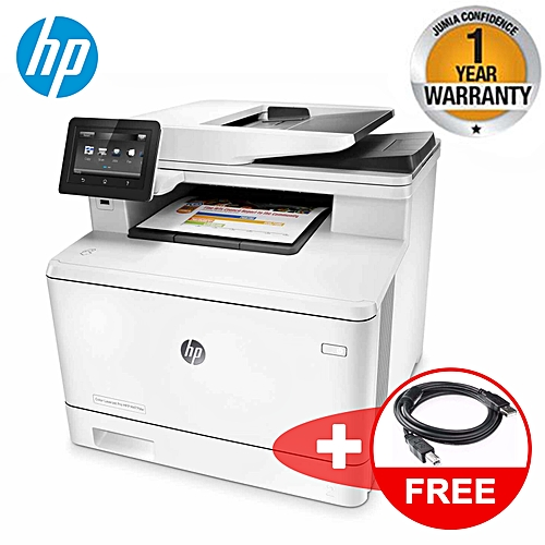 Latest Wireless HP LaserJet Pro M477fdw All-in-One (PRINT SCAN PHOTOCOPY)  Color Laser Printer with Double-Sided Printing Plus a Free Printer Cable -