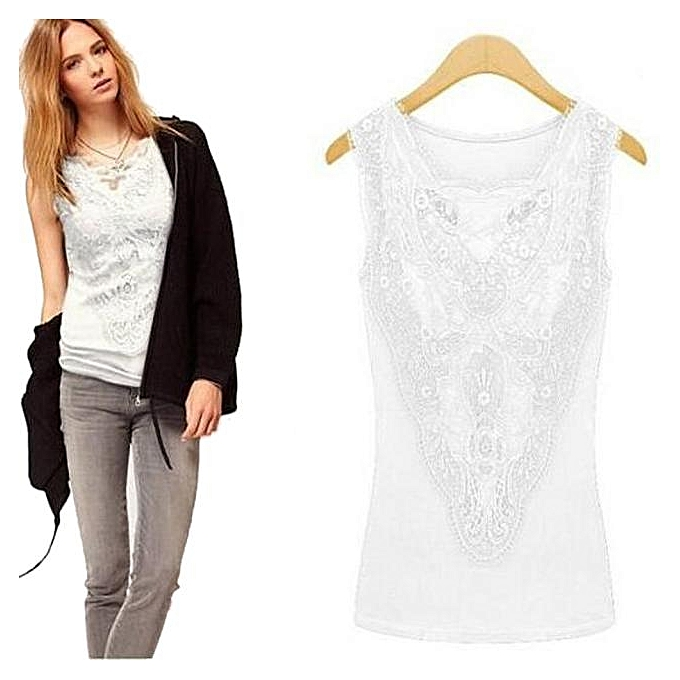 e32a05c07 Hiamok Women Solid Lace Sleeveless T-Shirt Casual Summer Blouse Tops Vest
