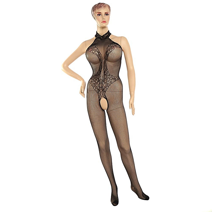 202c33d36945 Female Sexy Lingerie Costumes Bodysuit Lace Backless Open Crotch  Bodystocking Fishnet Teddies
