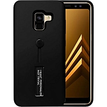 Samsung Galaxy A8 Plus 2018 Matte Shockproof Ring Stand PCplusTPU Back Case Cover - Black