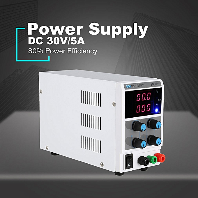 30V/5A Digital LED DC Power Supply Current Volt Display Variable Switching  white