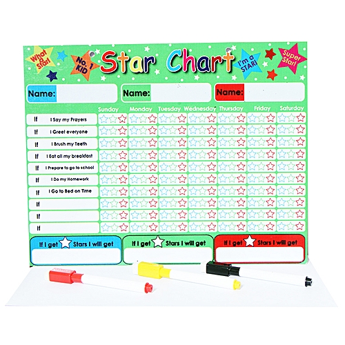 Star Chart For Kids With 3 Markers