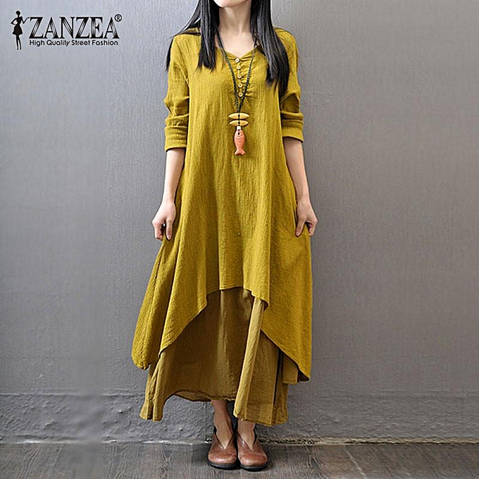 2d3459fe5f ZANZEA Boho Long Maxi Dress Women Casual Solid Cotton Linen Vestidos Plus  Size Elegant Loose Full
