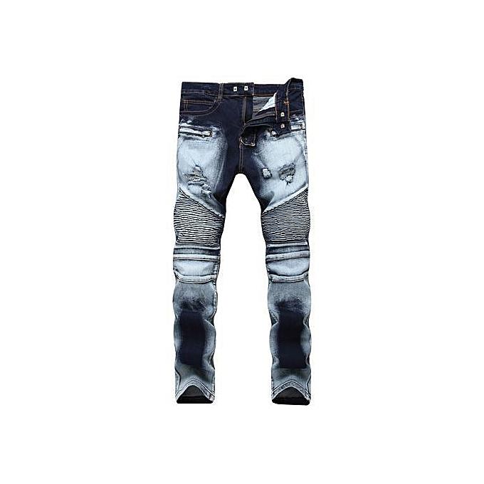 5666a46ce85 Ripped Biker Jeans Men Distressed Moto Denim Joggers Washed Pleated Jean  Pants Black Blue-blue