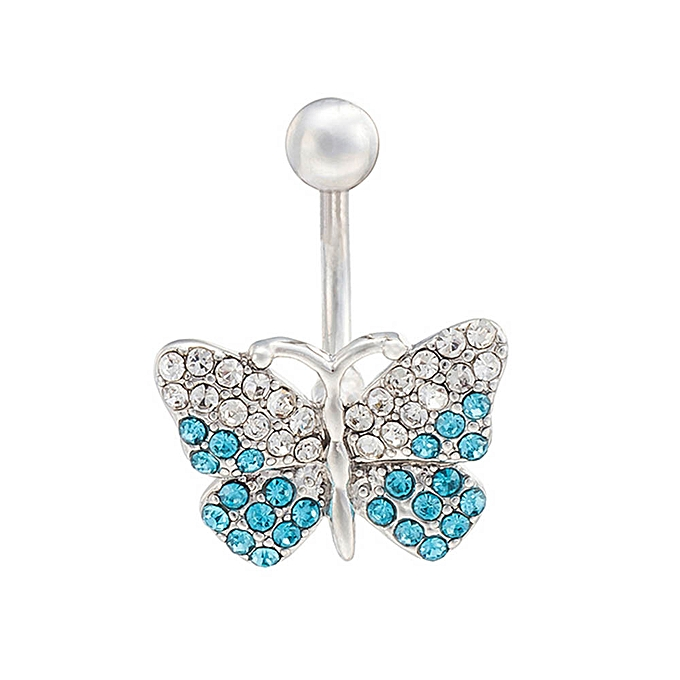 Hiamok Stainless Steel Rhinestone Butterfly Navel Ring Belly Body Piercing
