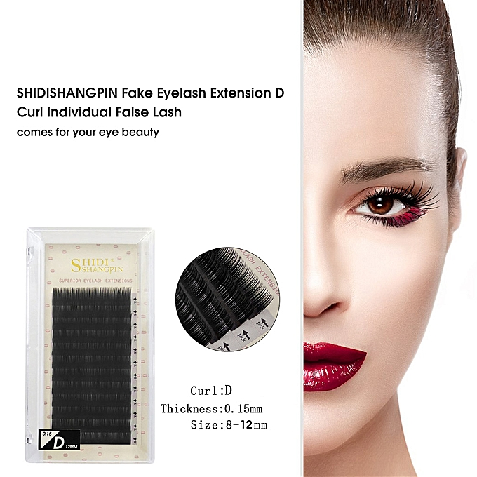SHIDISHANGPIN Fake Eyelashes Extension Individual False Lashes D Curl Black  Volume Eyelashes Extension Supplies For Beauty Salon Use
