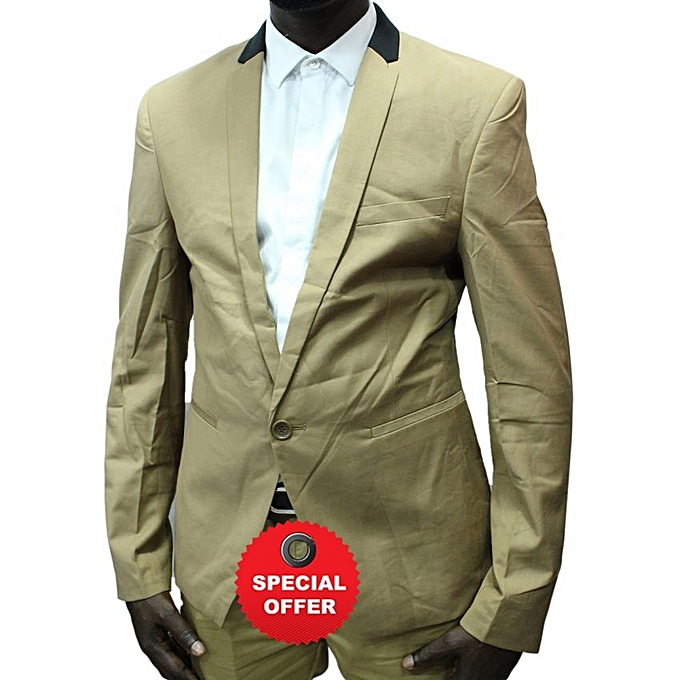 - Black Colar Designers Men's Blazer - Cream