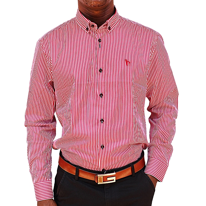 13e0a4560f Buy Generic Men's Formal Striped Button Down Shirt - Red online ...