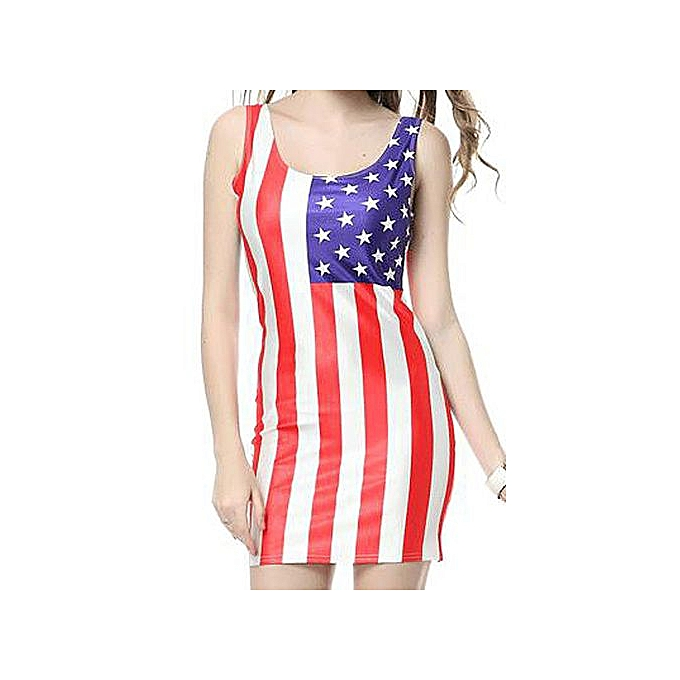 Sleeveless American Flag Print Womens Bodycon Sundress