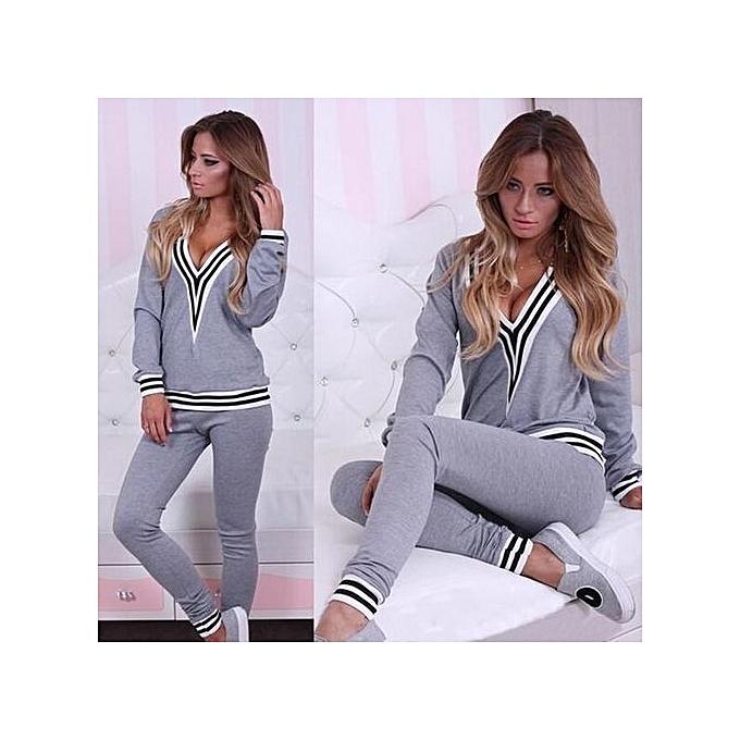 ec9198ea9cfa Refined Women Lady Sweatshirt Tops+Pants Casual Tracksuit Set 2Pcs Outfit  Sports Suit-Grey