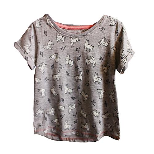3a7044bc55f83 Grey Baby Girl Top - Grey Animal Print - 1-5 Yrs