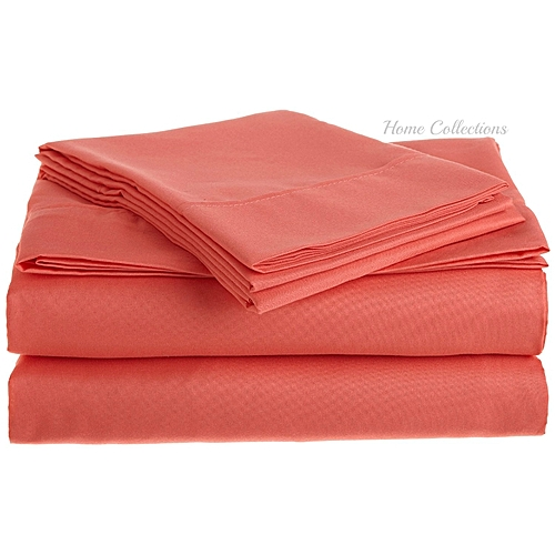 6*6 Ppair Of Cotton Bed Sheets With 2 Pillow Cases   Peach