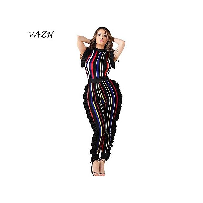 1b2b2d7aca2 New StuffSleeveless Fashion Ladies Bodycon Costume Sleeve O-neck Women  Jumpsuits Striped Night Club Rompers