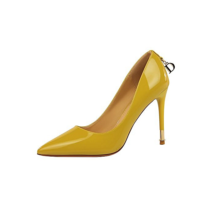 efbd9bf5af613 10cm High Heels Formal Pumps Women OL Shallow Thin Heels Patent Leather  Shoes (Yellow)