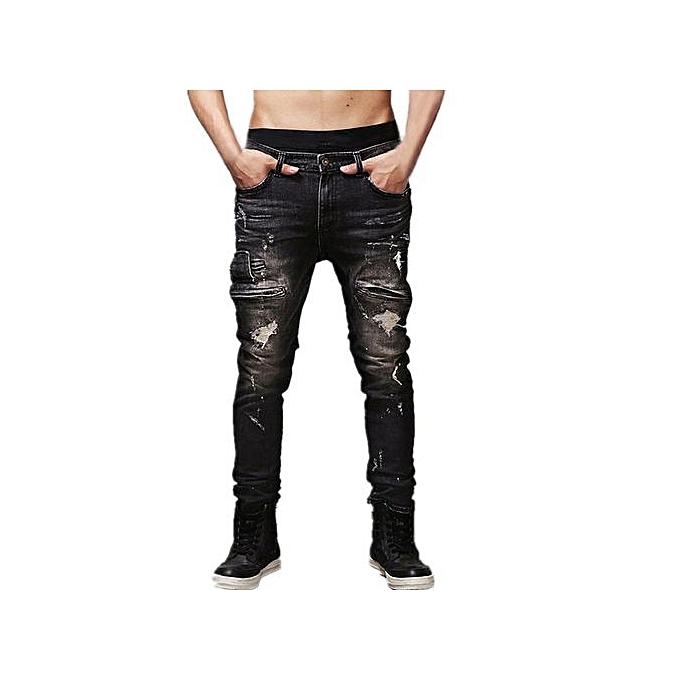 c4d87d0206 Buy FASHION Mens Ripped Jeans Slim Fit Denim Jeans Pants,Black ...